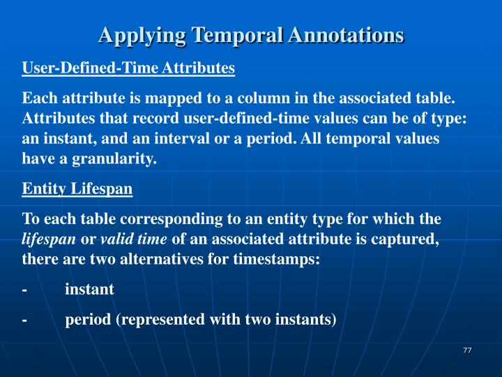 Applying Temporal Annotations