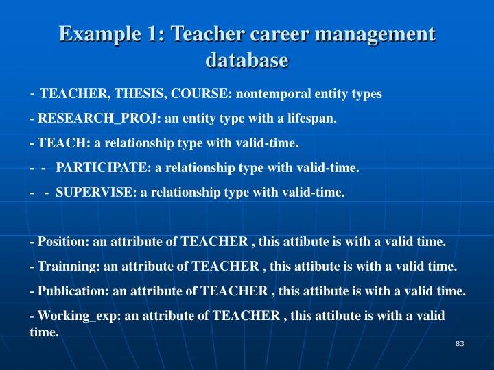 Example 1: Teacher career management database