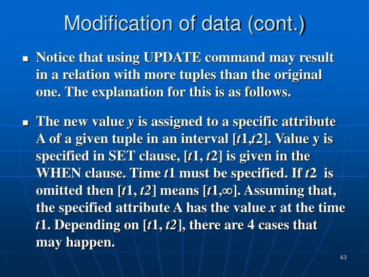 Modification of data (cont.)