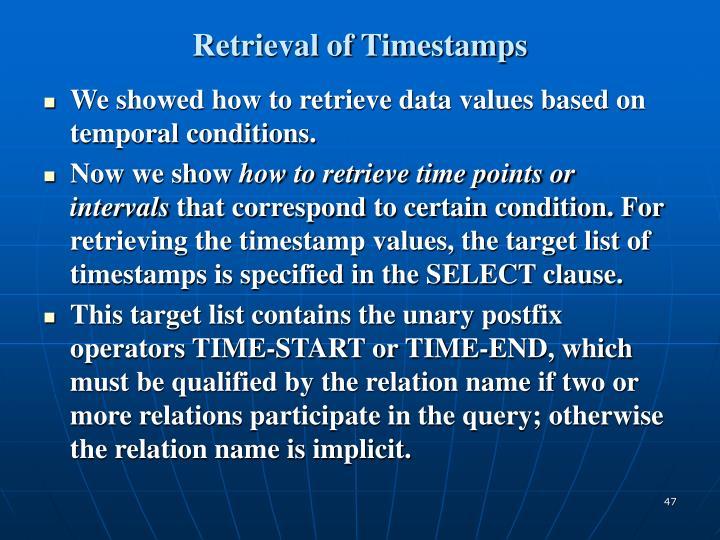 Retrieval of Timestamps