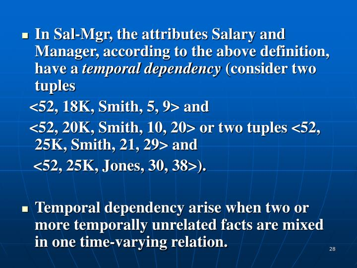 In Sal-Mgr, the attributes Salary and Manager, according to the above definition, have a