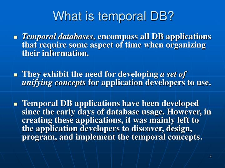 What is temporal db