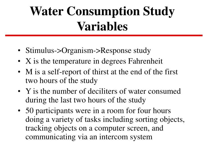 water consumption study variables n.
