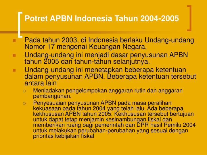 Potret APBN Indonesia Tahun 2004-2005