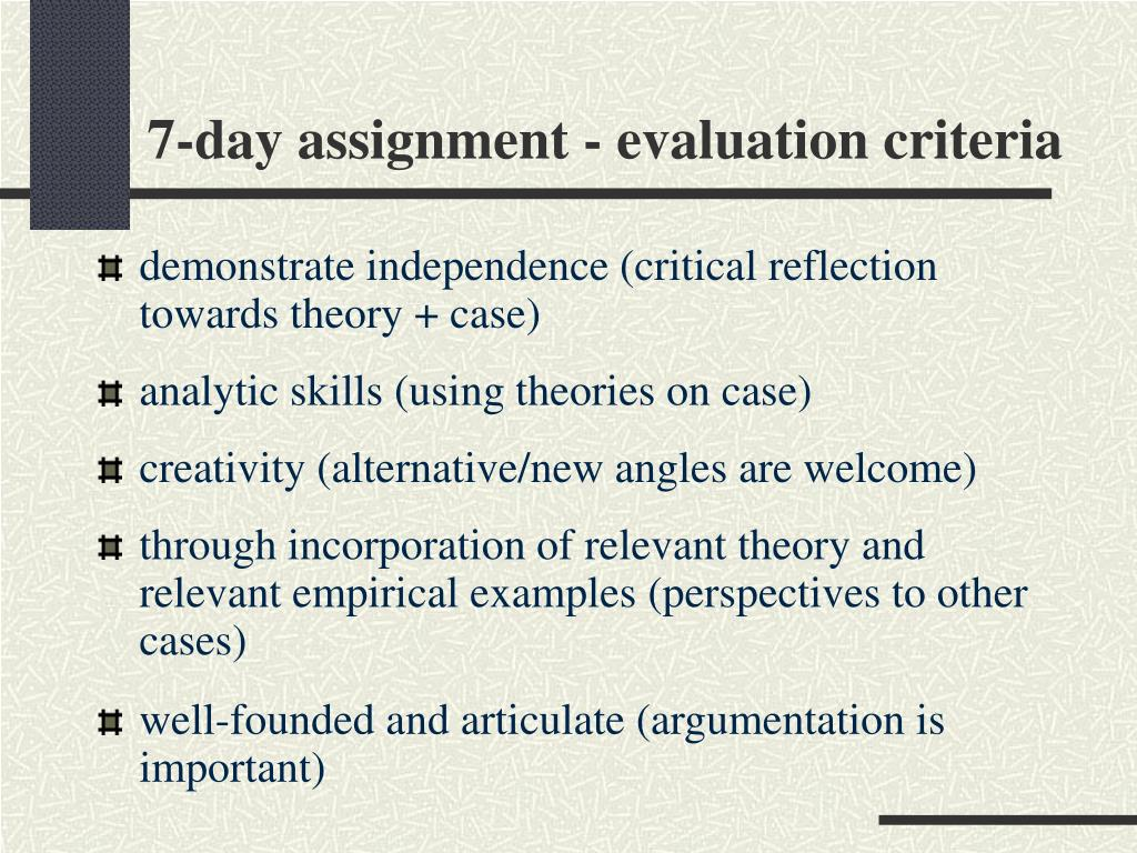 7-day assignment - evaluation criteria