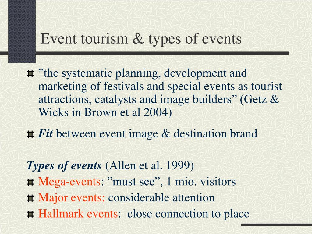 Event tourism & types of events