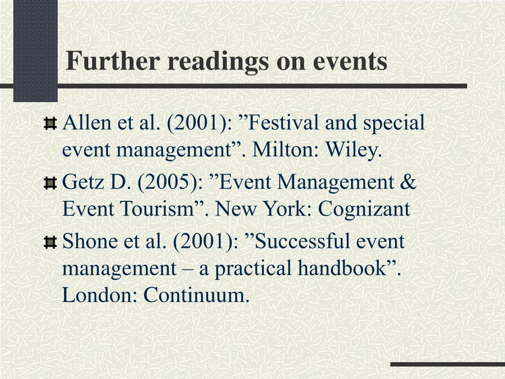 Further readings on events