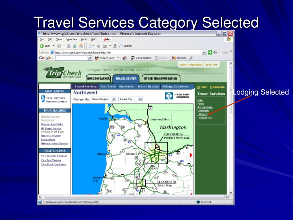 Travel Services Category Selected