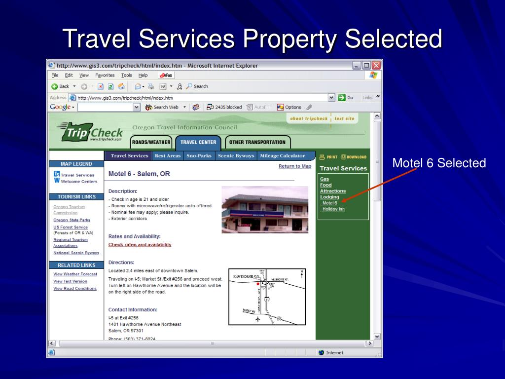 Travel Services Property Selected