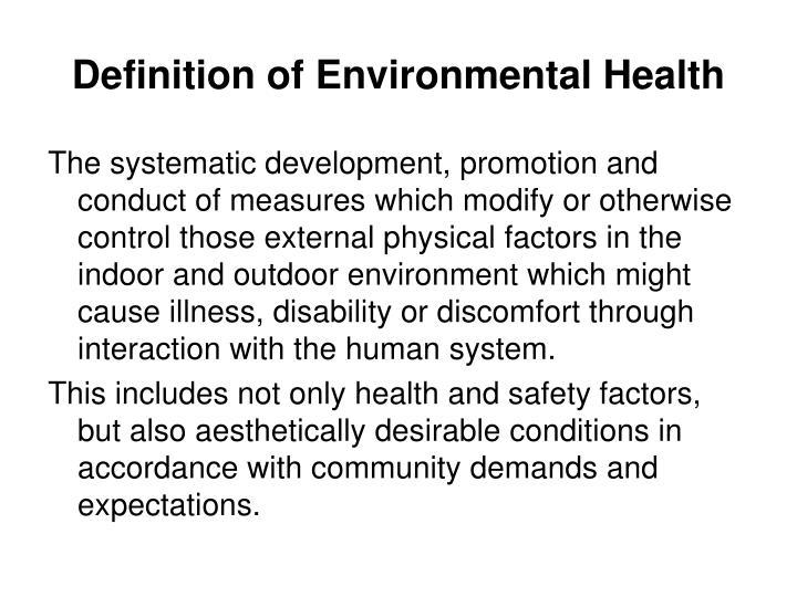 Definition of environmental health