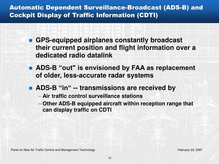 Automatic Dependent Surveillance-Broadcast (ADS-B) and Cockpit Display of Traffic Information (CDTI)