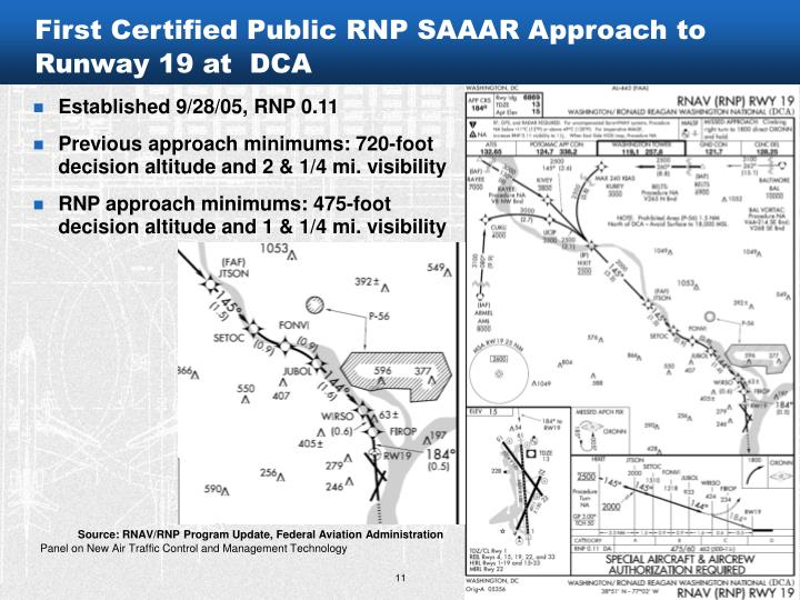 First Certified Public RNP SAAAR Approach to Runway 19 at  DCA