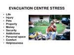 evacuation centre stress