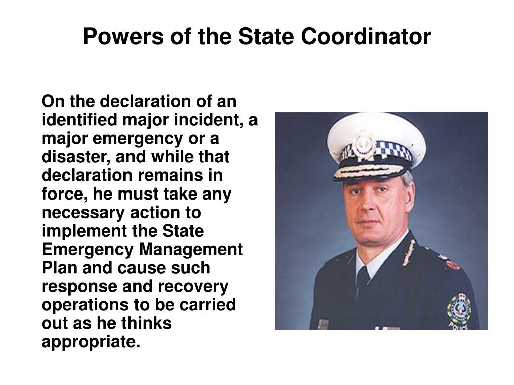 Powers of the State Coordinator