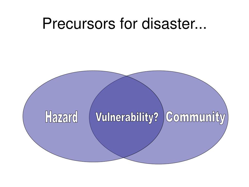 Precursors for disaster...