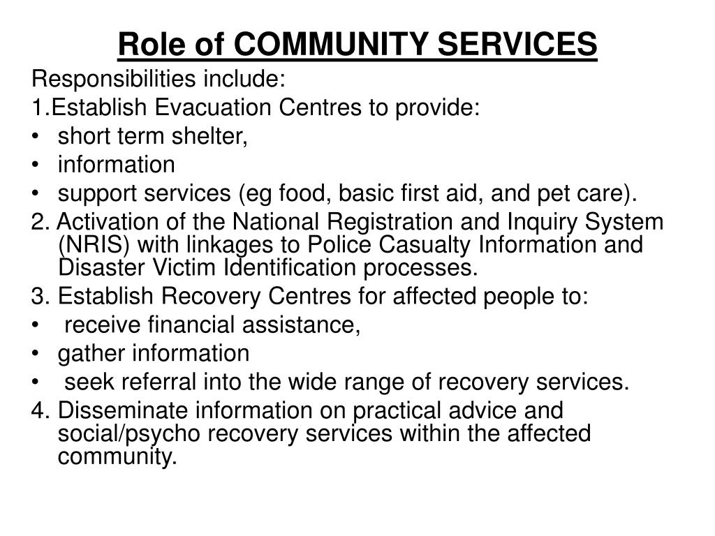 Role of COMMUNITY SERVICES