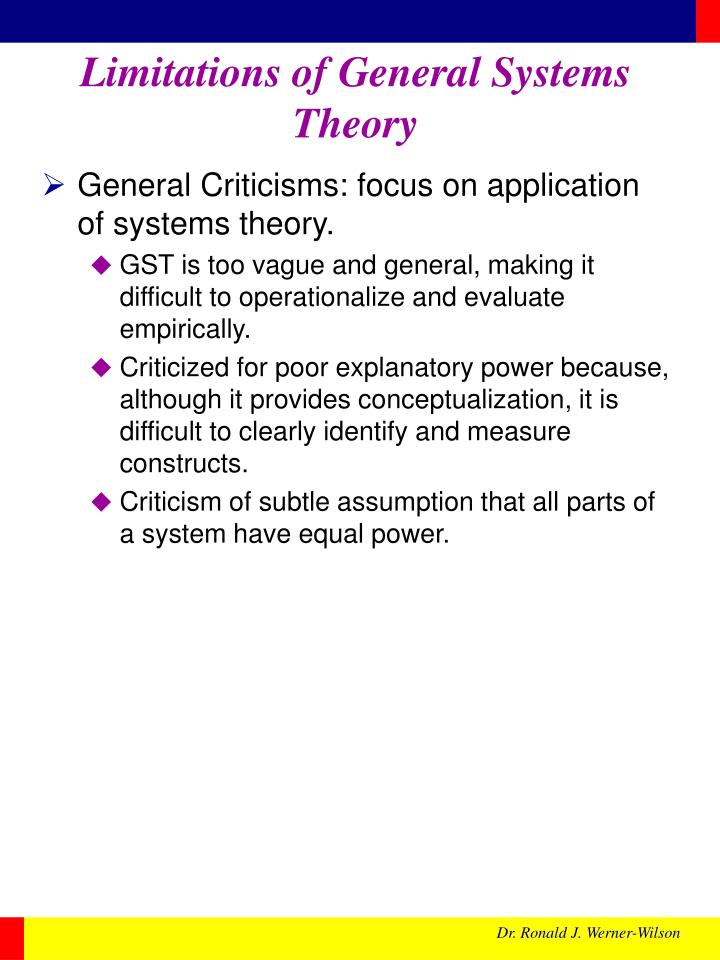 Limitations of General Systems Theory