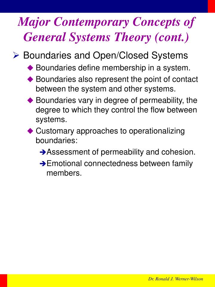 Major Contemporary Concepts of General Systems Theory (cont.)
