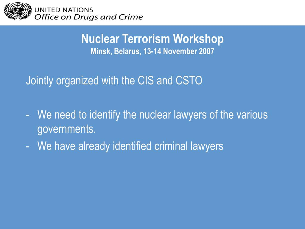 Nuclear Terrorism Workshop