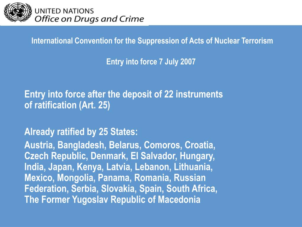 International Convention for the Suppression of Acts of Nuclear Terrorism