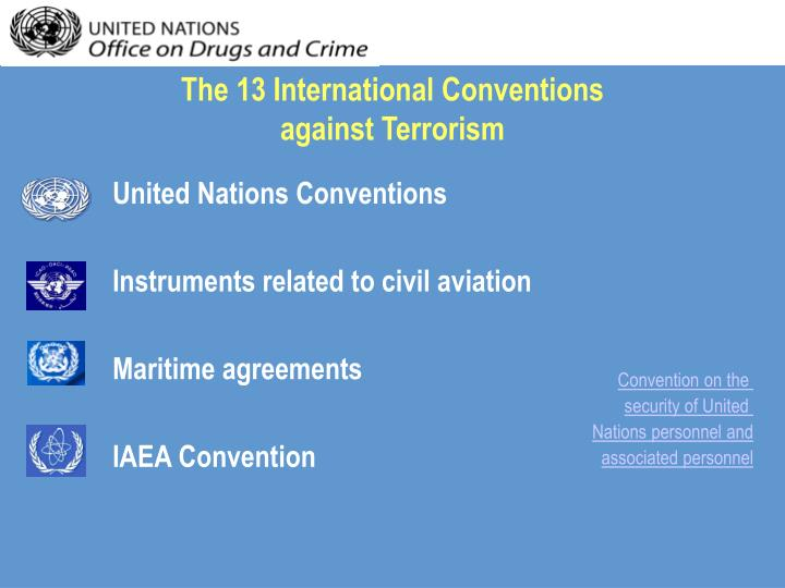 The 13 international conventions against terrorism