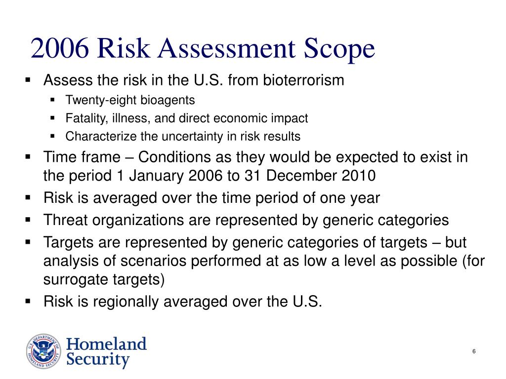 2006 Risk Assessment Scope