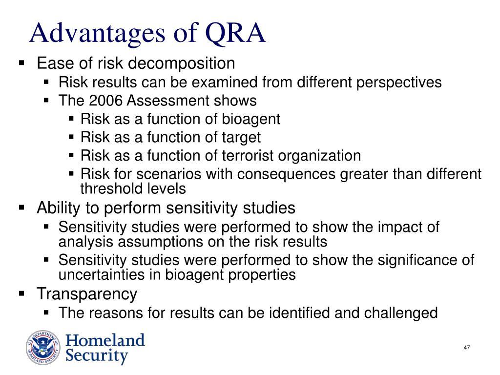 Advantages of QRA