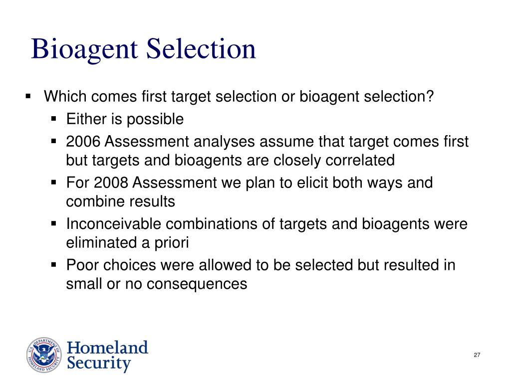 Bioagent Selection