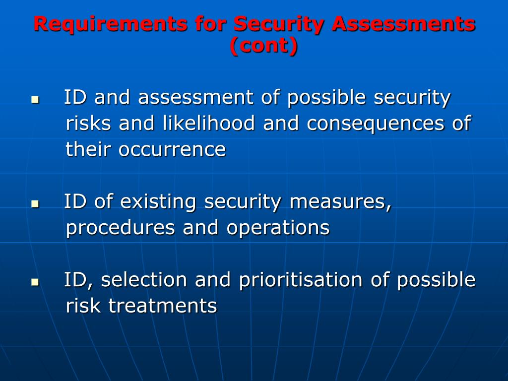 Requirements for Security Assessments (cont)