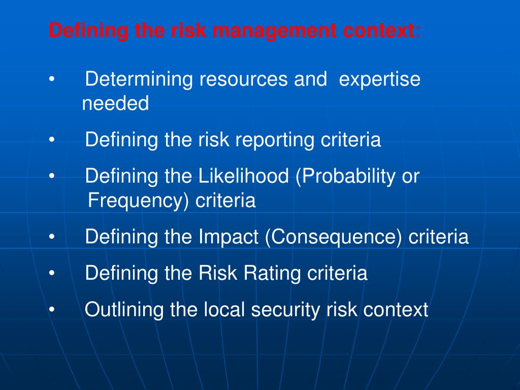 Defining the risk management context