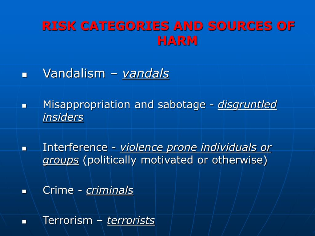 RISK CATEGORIES AND SOURCES OF HARM