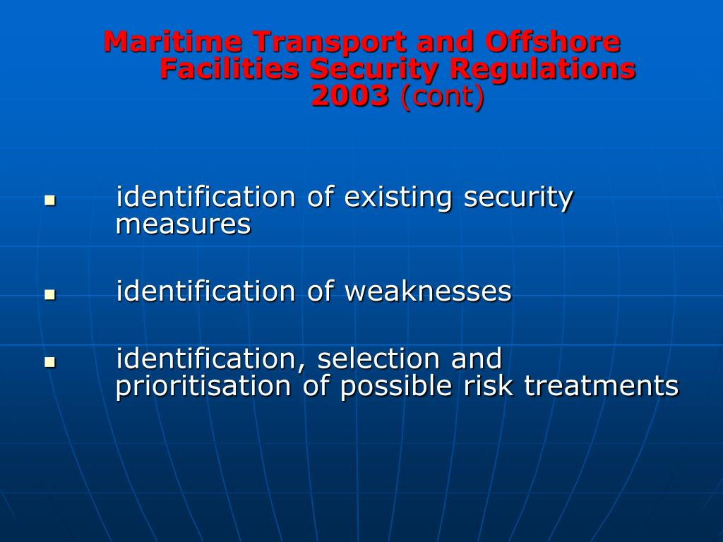 Maritime Transport and Offshore Facilities Security Regulations 2003