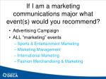 if i am a marketing communications major what event s would you recommend