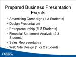 prepared business presentation events