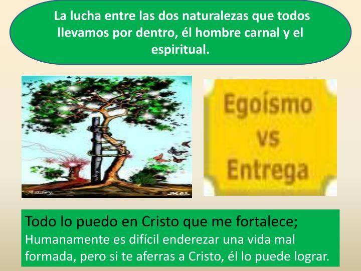 La lucha entre las dos naturalezas que todos llevamos por dentro, él hombre carnal y el espiritual.