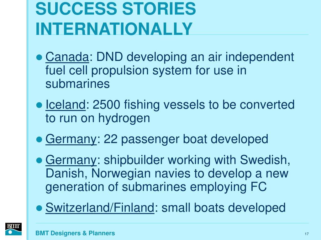 SUCCESS STORIES INTERNATIONALLY