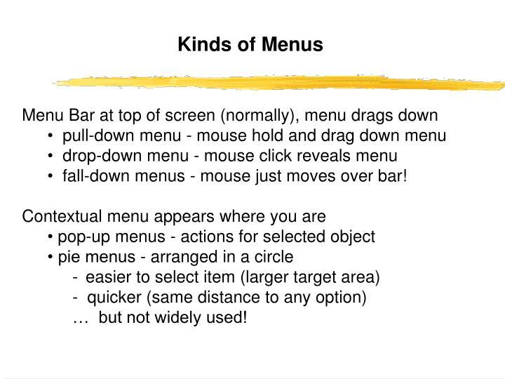 Kinds of Menus