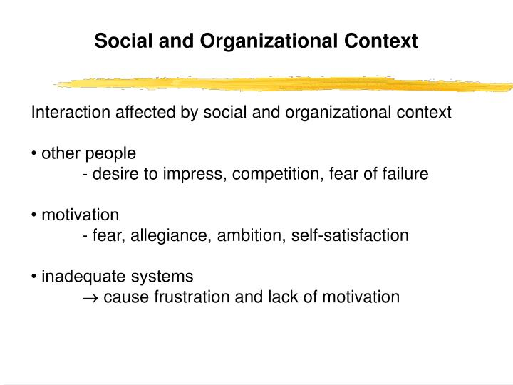 Social and Organizational Context