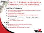 policy 2 1 5 professional memberships certification dues and subscriptions66