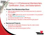 policy 2 1 5 professional memberships certification dues and subscriptions67