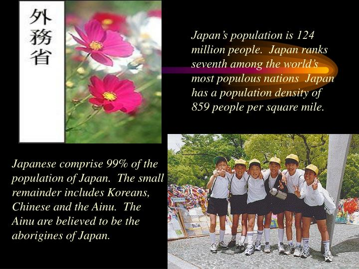 Japan's population is 124