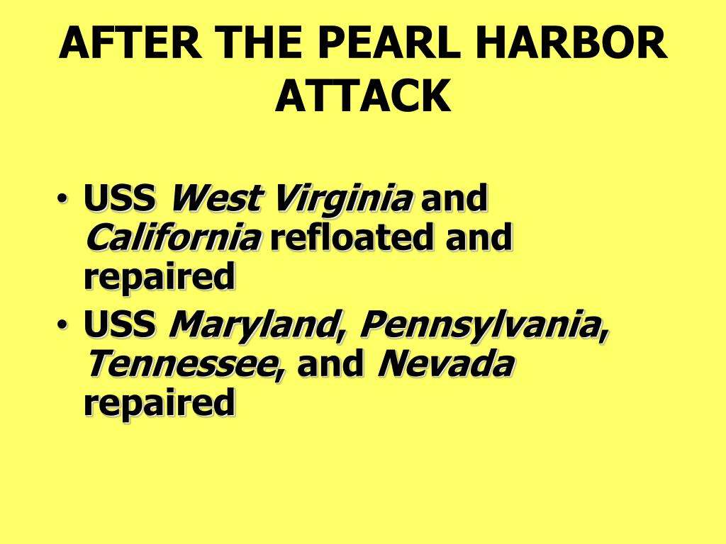 AFTER THE PEARL HARBOR ATTACK