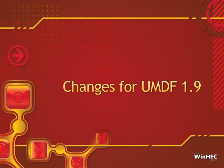 Changes for UMDF 1.9