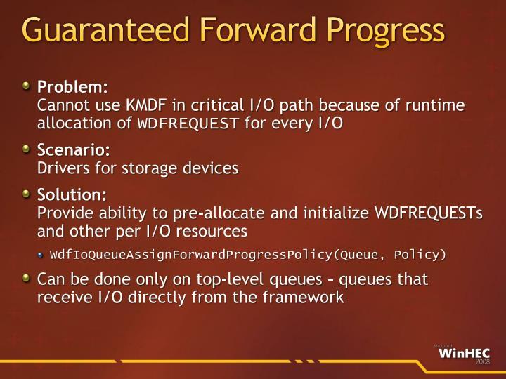 Guaranteed Forward Progress