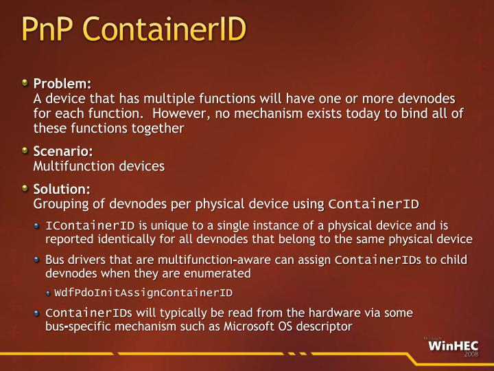 PnP ContainerID