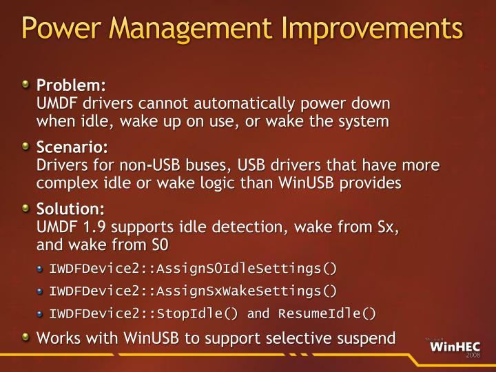 Power Management Improvements