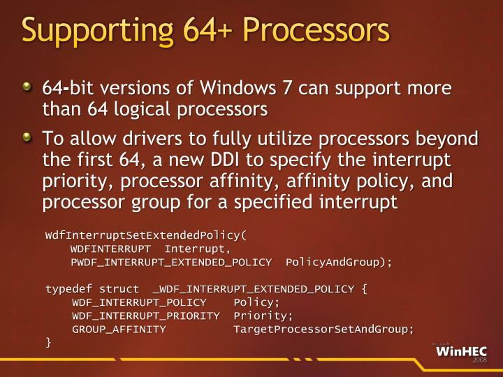 Supporting 64+ Processors