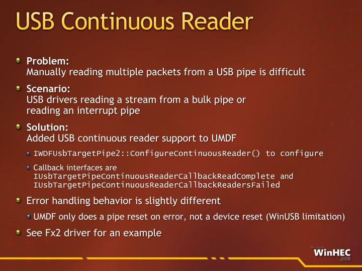 USB Continuous Reader