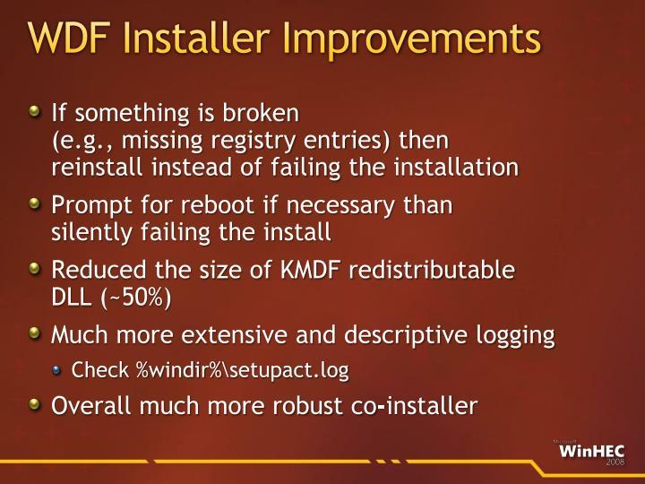 WDF Installer Improvements