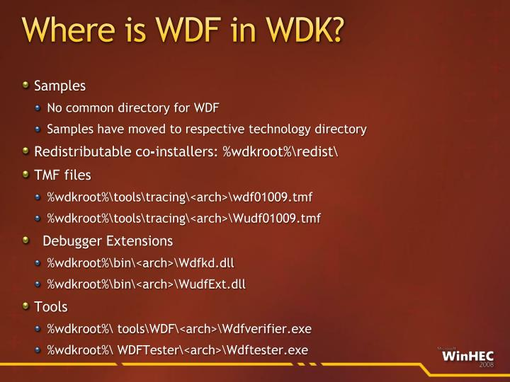 Where is WDF in WDK?